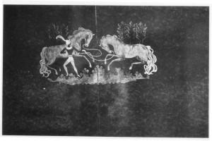 meuble-bar aux chevaux, détail